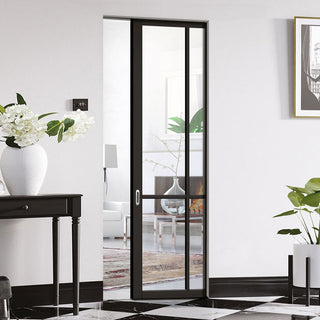 Image: Liberty 4 Pane Black Primed Absolute Evokit Single Pocket Door - Clear Glass