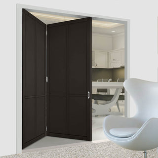 Image: Two Folding Doors & Frame Kit - Liberty 4 Panel 2+0 - Black Primed
