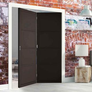 Image: Two Folding Doors & Frame Kit - Soho 4 Panel 2+0 - Black Primed