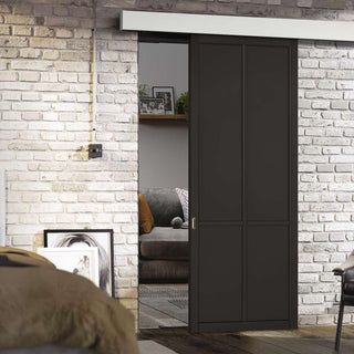 Image: Single Sliding Door & Wall Track - Liberty 4 Panel Door - Black Primed