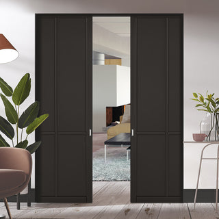 Image: Liberty 4 Panel Black Primed Absolute Evokit Double Pocket Doors
