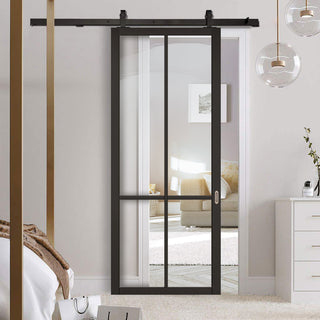 Image: Top Mounted Sliding Track & Door - Liberty 4 Pane Black Primed Door - Clear Glass