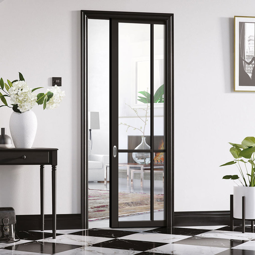 Liberty 4 Pane Black Primed Single Evokit Pocket Door - Clear Glass