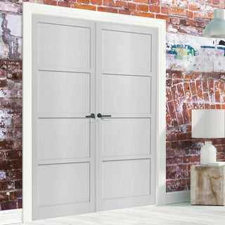 Image: Bespoke Industrial Style 4 Panel Door Pair WK6357 - 95mm - 4 Prefinished Colour Choices