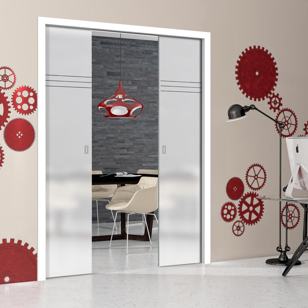 Linton 8mm Obscure Glass - Clear Printed Design - Double Evokit Pocket Door