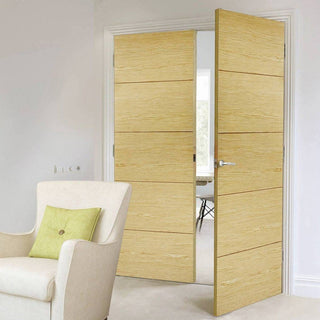 Image: Bespoke Lille Oak Flush Door Pair - Prefinished