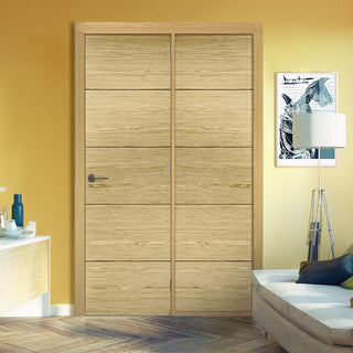 Image: ThruEasi Room Divider - Lille Flush Oak Prefinished Door with Single Side - 2018mm High - Multiple Widths