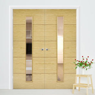 Image: Lille 1 Pane Oak Door Pair - Clear Glass - Prefinished