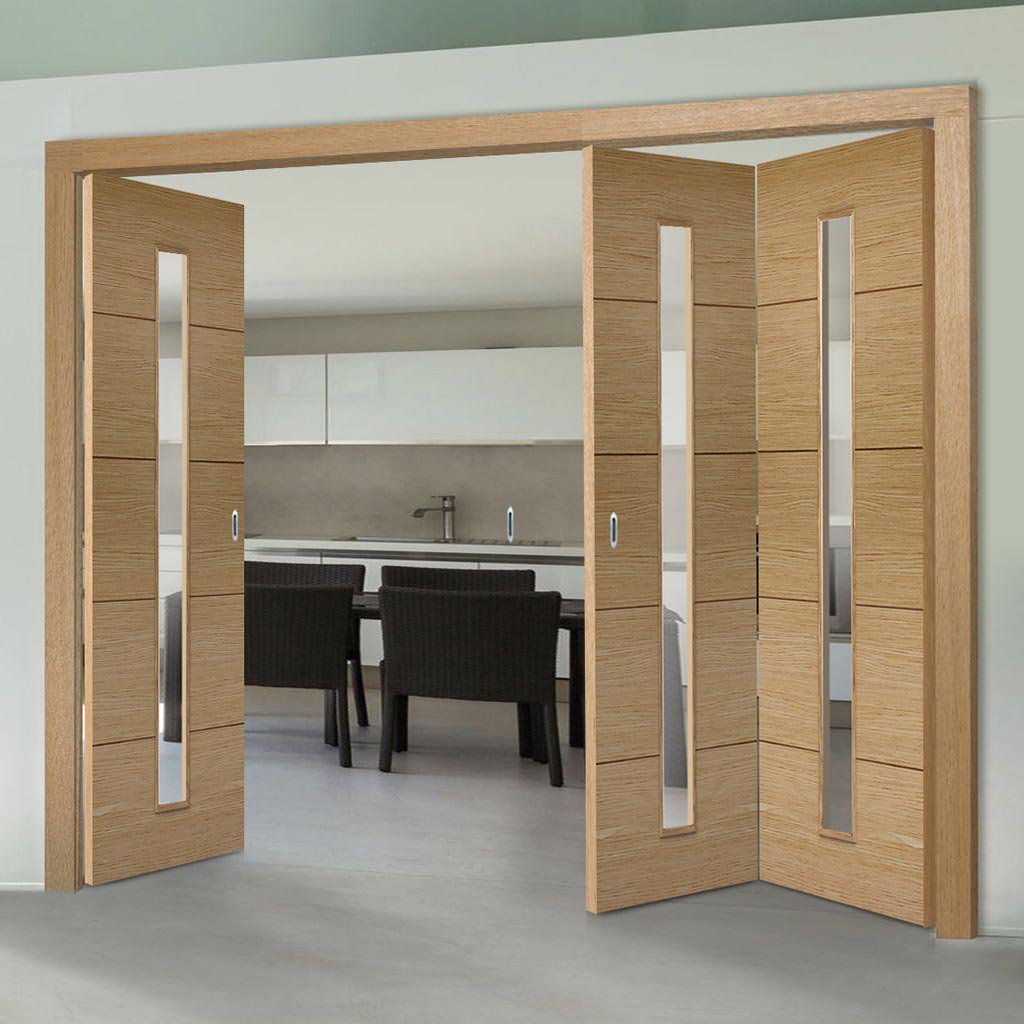 Three Folding Doors & Frame Kit - Lille 1 Pane Oak 2+1 - Clear Glass - Prefinished