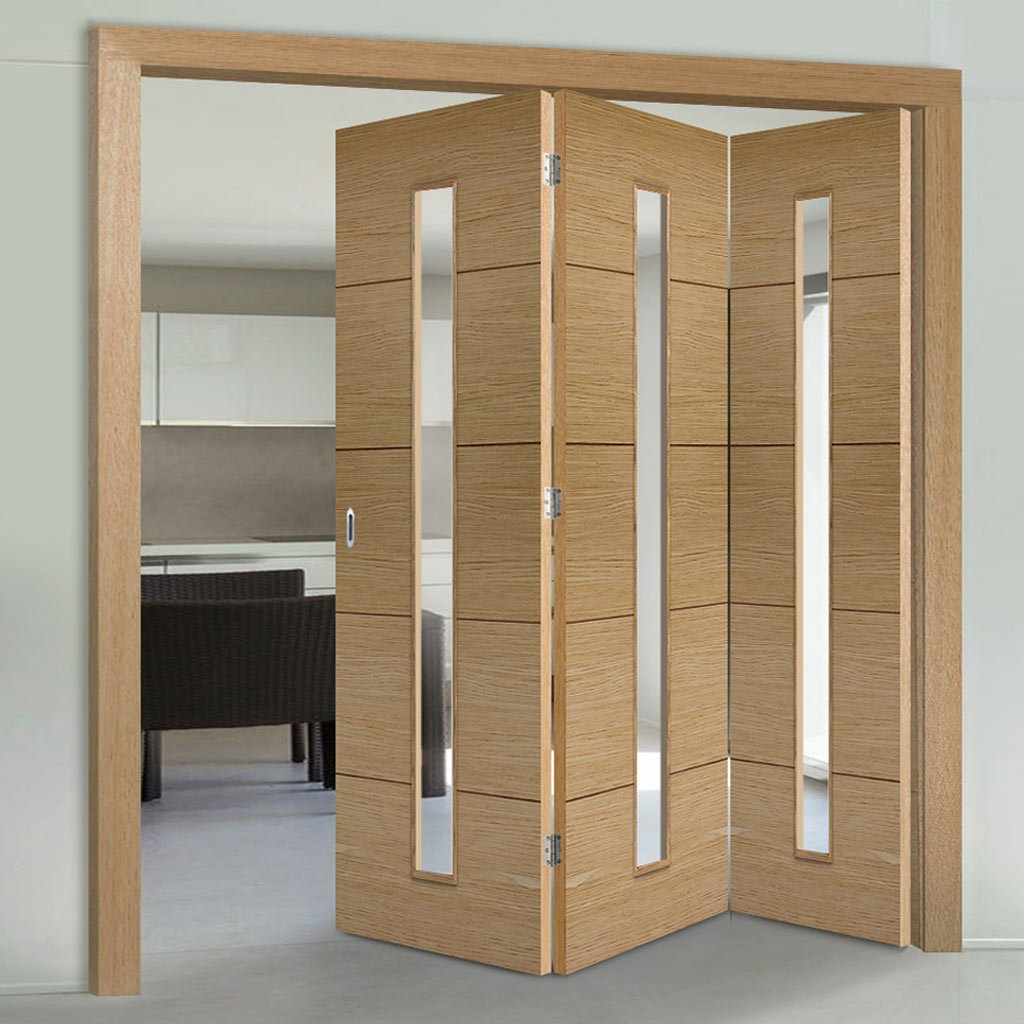 Three Folding Doors & Frame Kit - Lille 1 Pane Oak 3+0 - Clear Glass - Prefinished