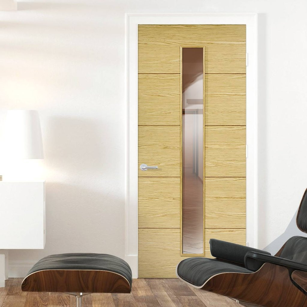 Bespoke Lille 1L Oak Flush Door - Clear Glass - Prefinished