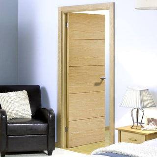 Image: LPD Joinery Lille Oak Fire Door - 1/2 Hour Fire Rated - Prefinished