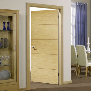 Image: Bespoke Lille Oak Flush Fire Door - 1/2 Hour Fire Rated - Prefinished