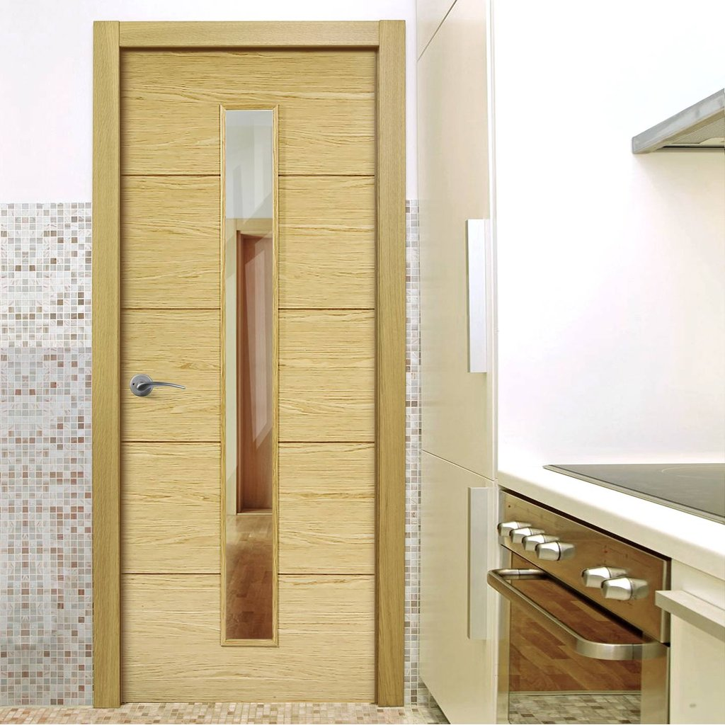 Lille 1 Pane Oak Internal Door - Clear Glass - Prefinished