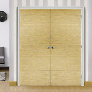 Image: Lille Oak Door Pair - 1/2 Hour Fire Rated - Prefinished