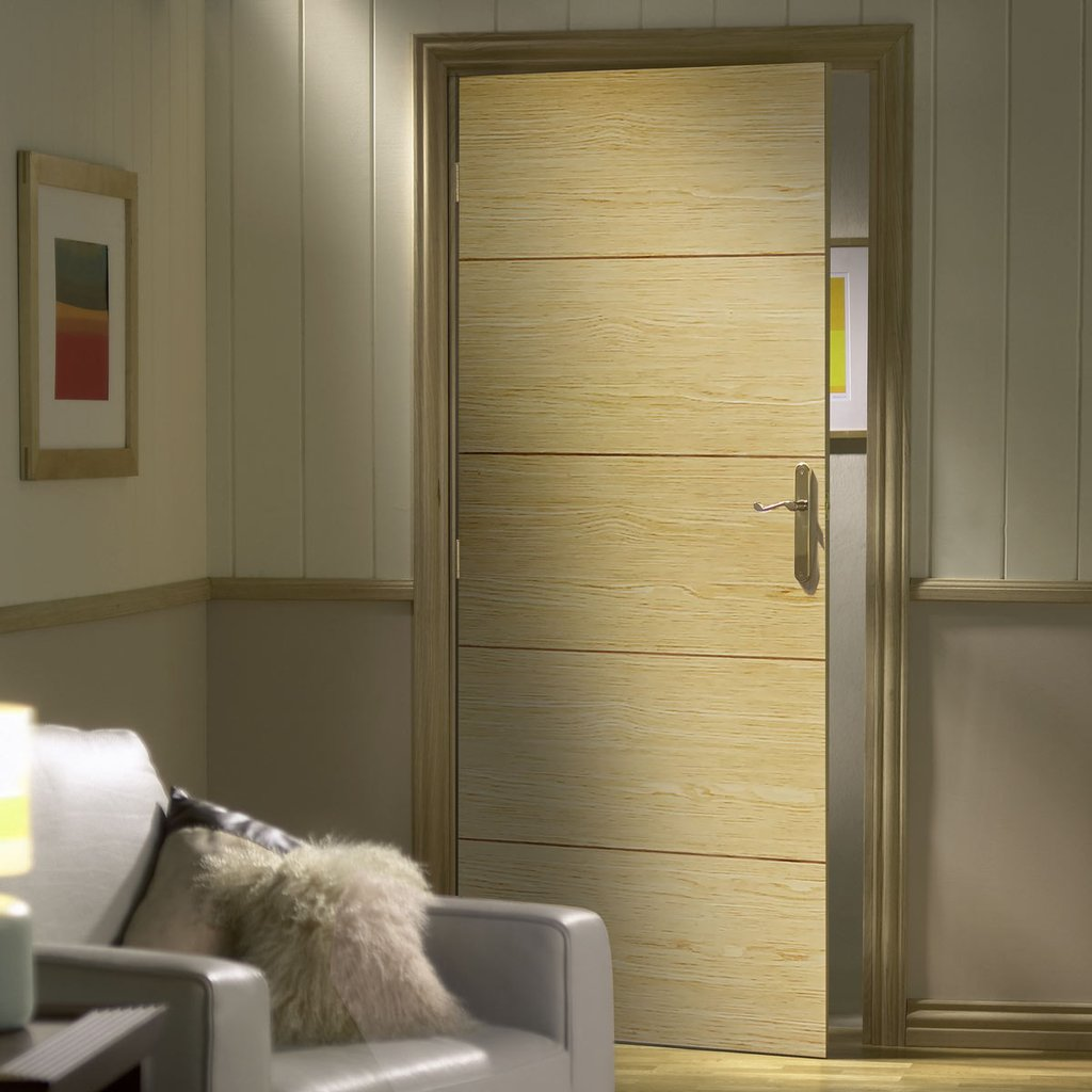 Bespoke Lille Oak Flush Door - Prefinished