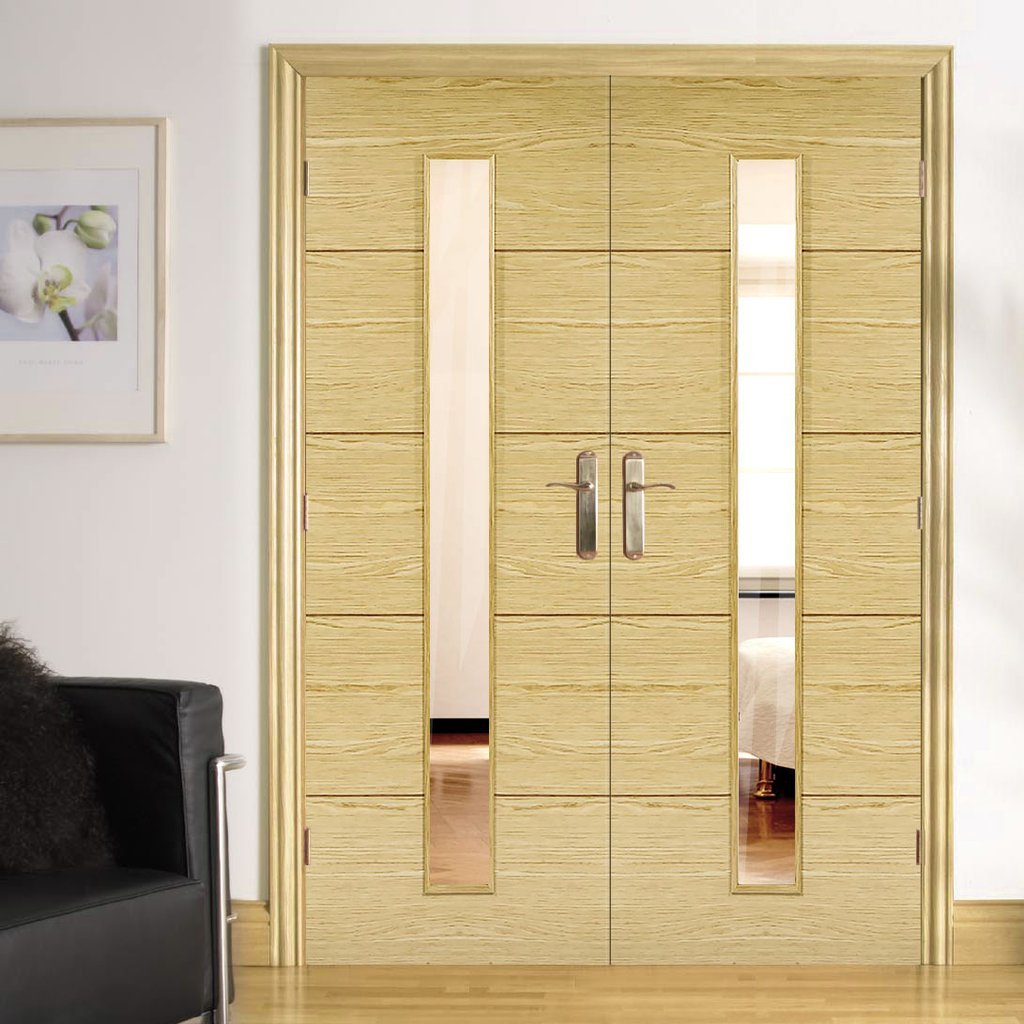 Bespoke Lille 1L Oak Flush Door Pair - Clear Glass - Prefinished