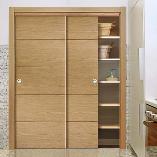 Image: Bespoke Lille Oak Flush Door - 2 Door Wardrobe and Frame Kit - Prefinished