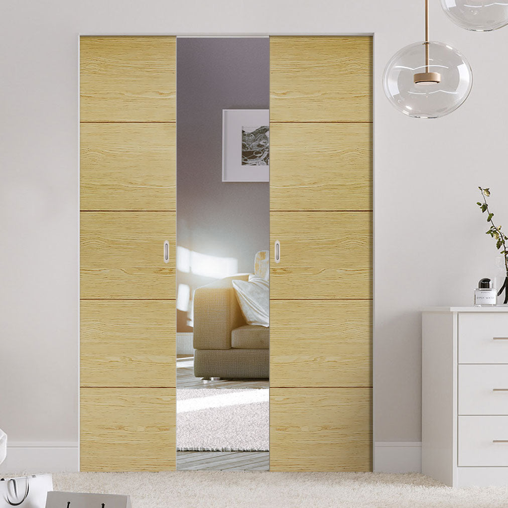 Bespoke Lille Oak Flush Double Frameless Pocket Door - Prefinished
