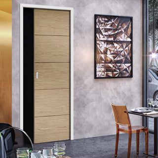 Image: Lille Oak Solid Single Evokit Pocket Door - Prefinished