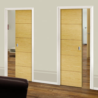 Image: Lille Oak Veneer Unico Evo Pocket Doors - Prefinished