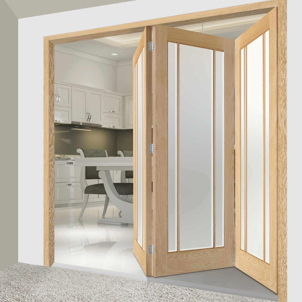 Three Folding Doors & Frame Kit - Lincoln 3 Pane Oak 3+0 - Frosted Glass - Unfinished