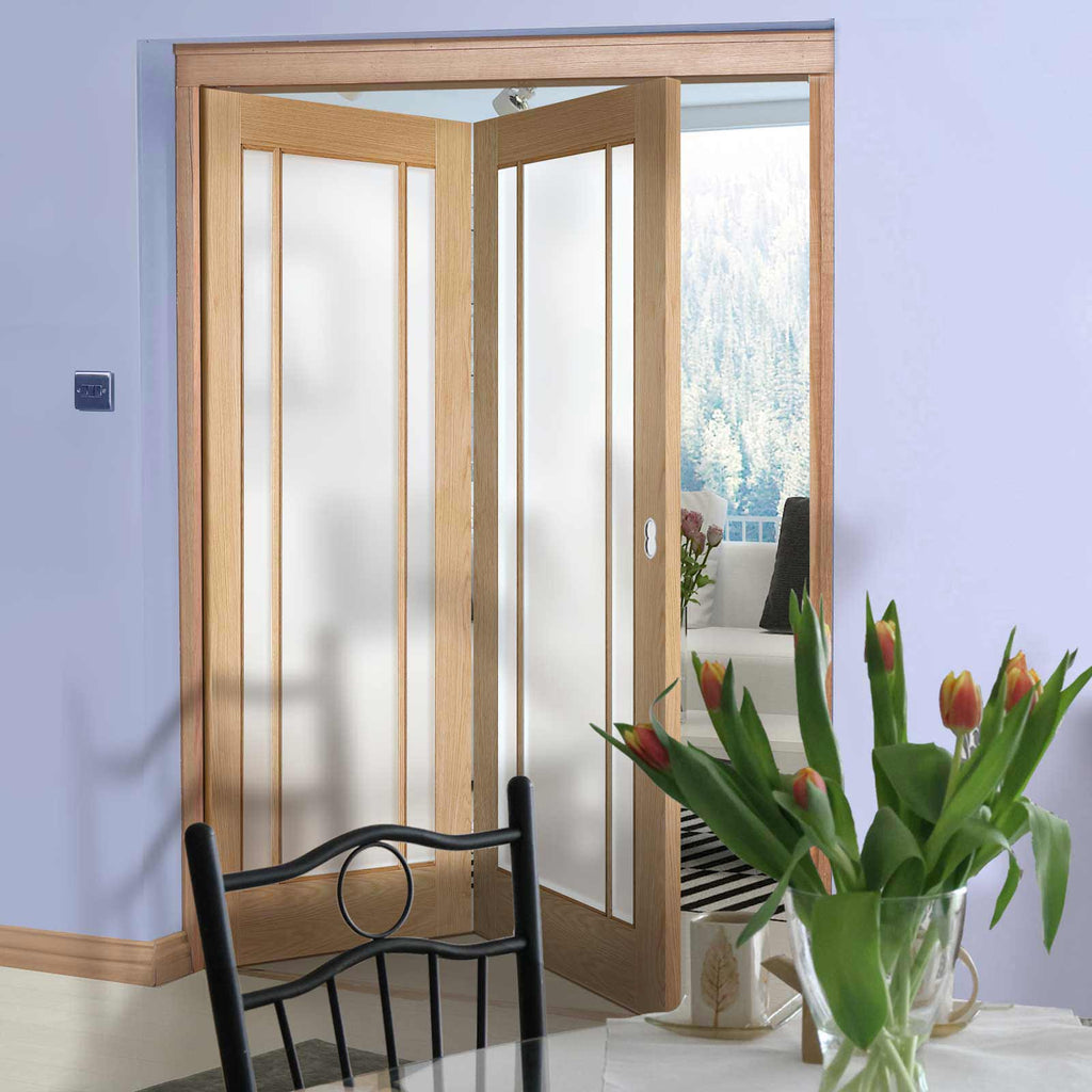 Two Folding Doors & Frame Kit - Lincoln 3 Pane Oak 2+0 - Frosted Glass - Unfinished