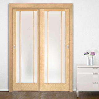 Image: Thruslide Lincoln Glazed Oak 2 Door Wardrobe and Frame Kit - Frosted Safety Glass