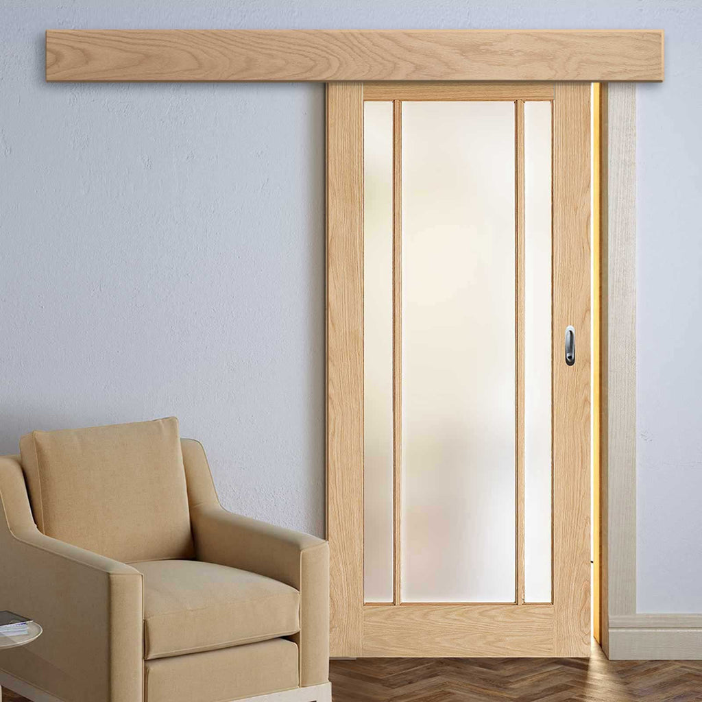 Single Sliding Door & Wall Track - Lincoln 3 Pane Oak Door - Frosted Glass - Unfinished