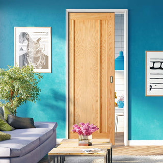 Image: Lincoln 3 Panel Oak Evokit Pocket Fire Door - 30 Minute Fire Rated