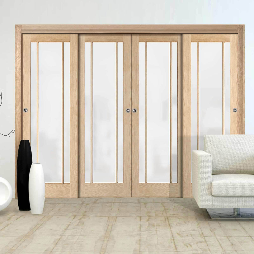 Minimalist Wardrobe Door & Frame Kit - Four Lincoln 3 Pane Oak Doors - Frosted Glass - Unfinished