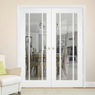 Image: Lincoln 3 Pane Door Pair - Clear Glass - White Primed