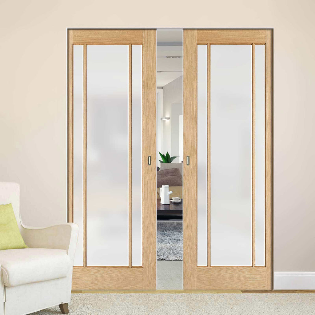 Lincoln Glazed Oak Absolute Evokit Double Pocket Doors - Frosted Glass - Unfinished