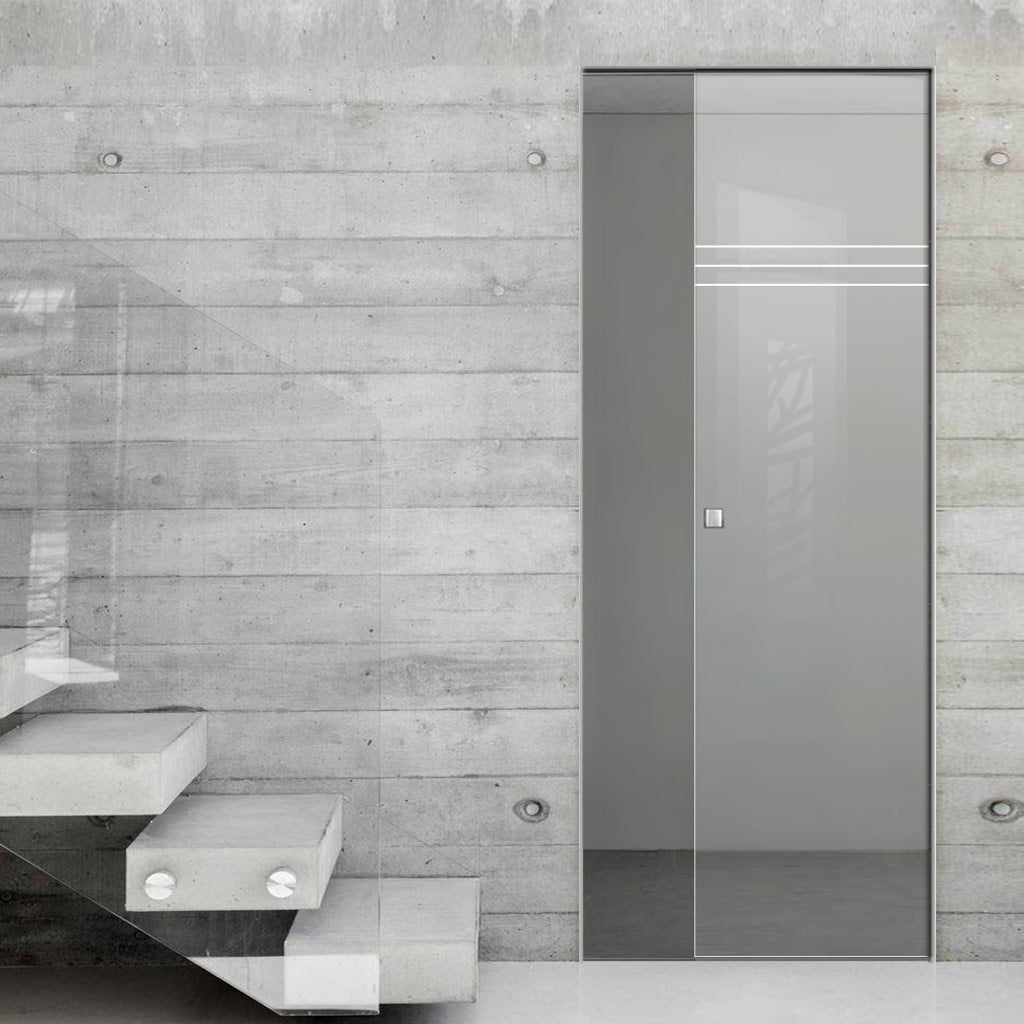 Linton 8mm Clear Glass - Obscure Printed Design - Single Absolute Pocket Door