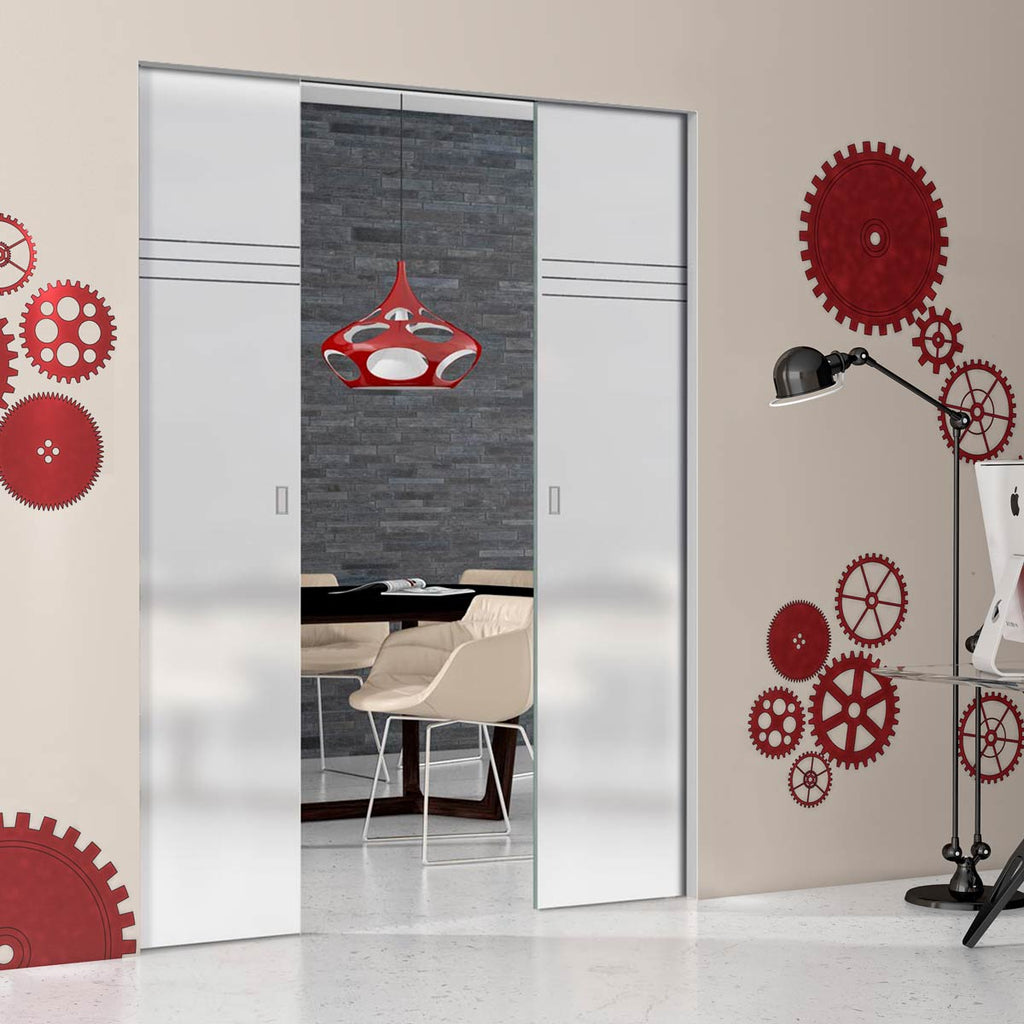 Linton 8mm Obscure Glass - Clear Printed Design - Double Absolute Pocket Door