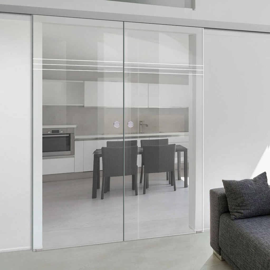 Double Glass Sliding Door - Linton 8mm Clear Glass - Obscure Printed Design - Planeo 60 Pro Kit