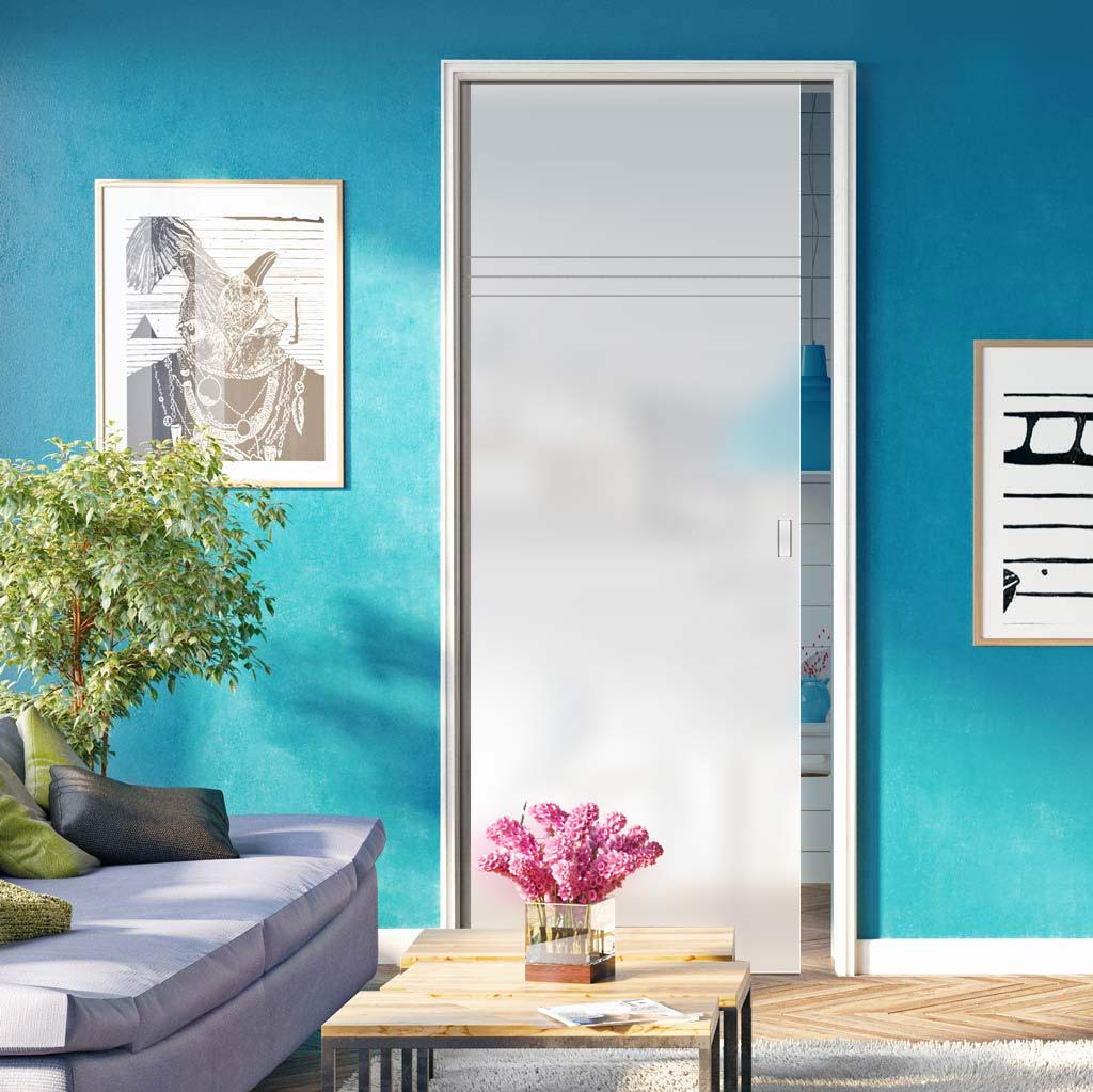 Linton 8mm Obscure Glass - Obscure Printed Design - Single Evokit Glass Pocket Door