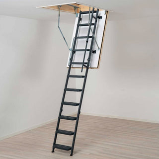 Image: Dolle Steel Loft Ladder - REI Fire Rated Comfort Steel 1200 x 700mm - Insulated Door, Max Ceiling Height 2700mm