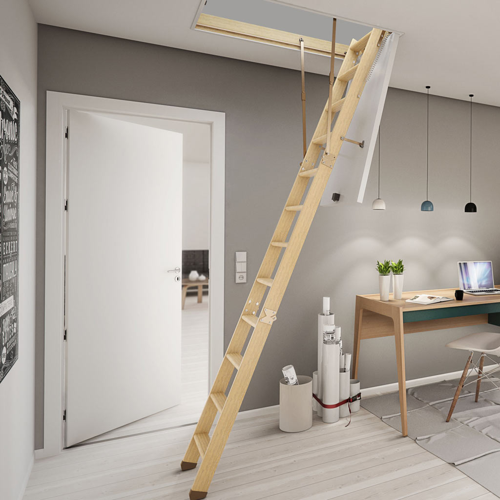 Dolle Wooden Loft Ladder - SW36-5 : 1200 x 700mm  - Insulated Door, Min - Max Ceiling Height 2810mm - 2830mm