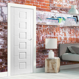 Image: White PVC lomond lightly grained panel door