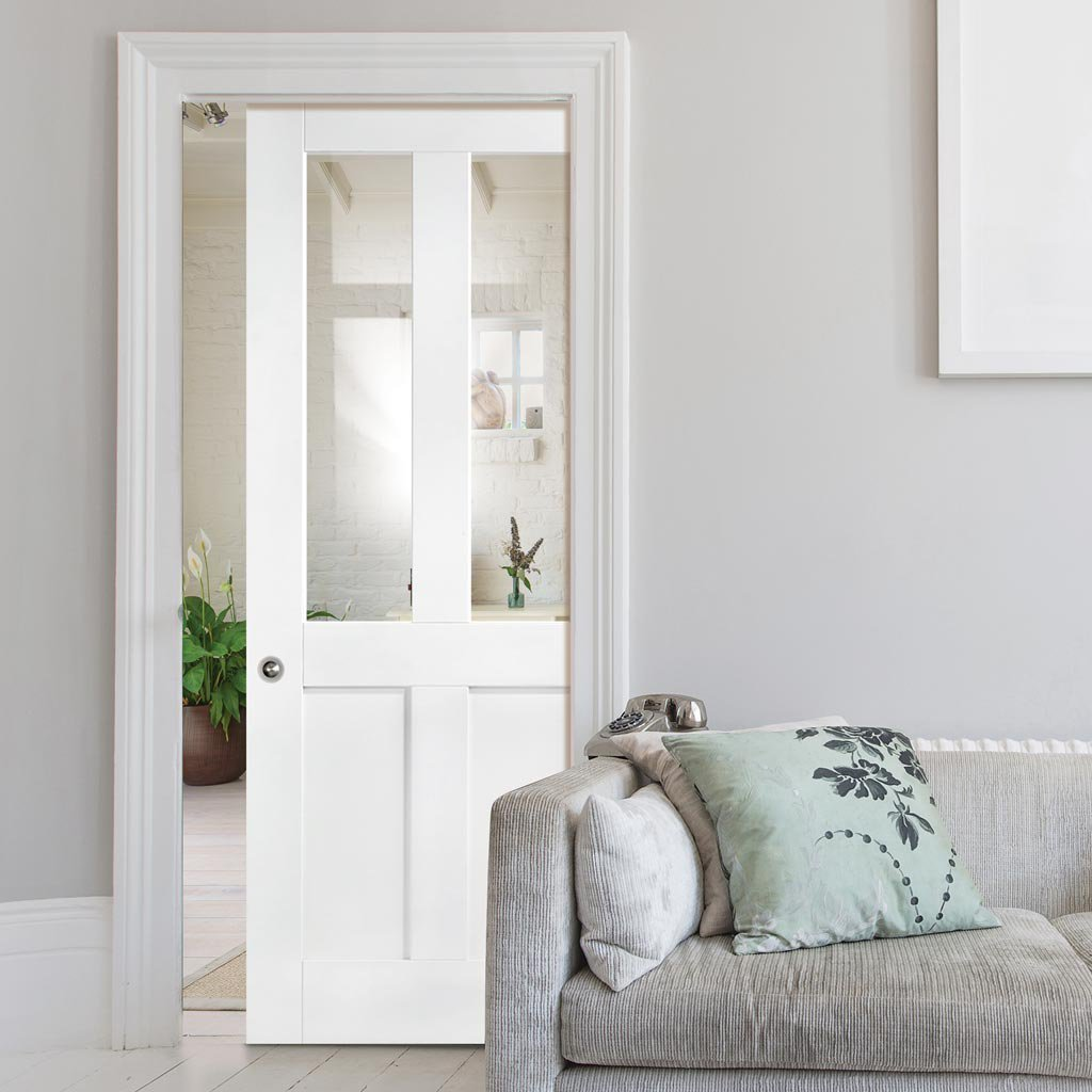 London Single Evokit Pocket Door - Clear Glass - White Primed