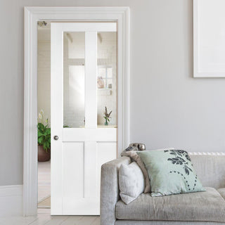 Image: London Single Evokit Pocket Door - Clear Glass - White Primed