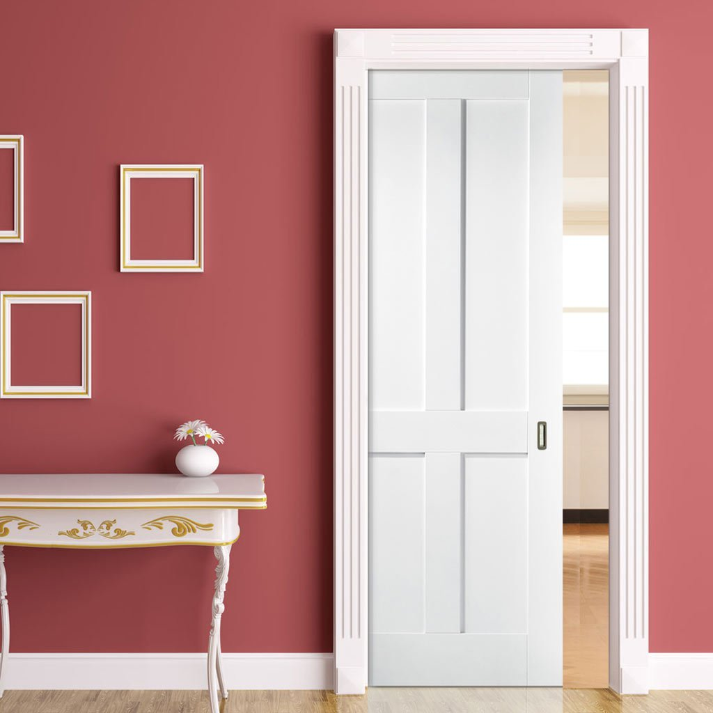 London 4 Panel Single Evokit Pocket Door - White Primed