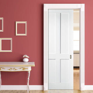 Image: London 4 Panel Single Evokit Pocket Door - White Primed