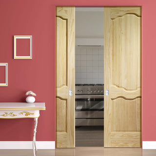 Image: Louis Clear Pine Absolute Evokit Double Pocket Door