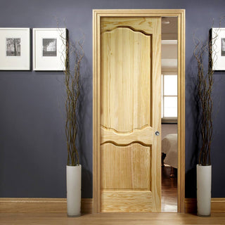 Image: Louis Clear Pine Single Evokit Pocket Door