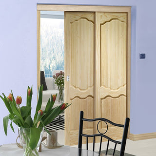 Image: Louis Clear Pine Staffetta Twin Telescopic Pocket Doors