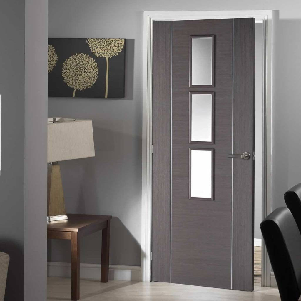 Chocolate Grey Alcaraz Door - Clear Glass - Prefinished