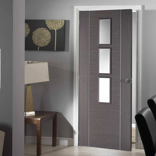 Image: Chocolate Grey Alcaraz Door - Clear Glass - Prefinished