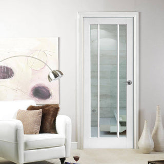 Image: Lincoln 3 Pane Door - Clear Glass - White Primed